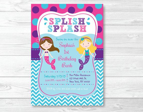 Mermaid Birthday Invitation Mermaid Birthday Invite Mermaid
