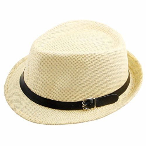 bbb95ccb80cf59 Samtree Womens Mens Cap Vintage Knitted Straw Jazz Hat Fedora Trilby(Beige)  - http