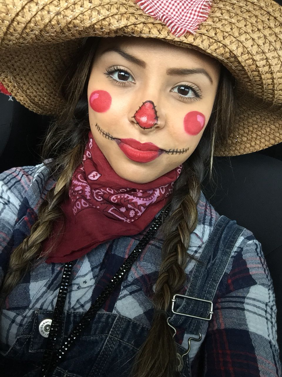 Quick and easy scarecrow makeup. All that was used red