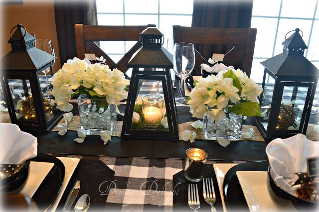Dining Delight Black Lanterns Buffalo Check Tablescape Lantern Dining Room Centerpiece Dining Room Table Centerpieces Farmhouse Table Centerpieces