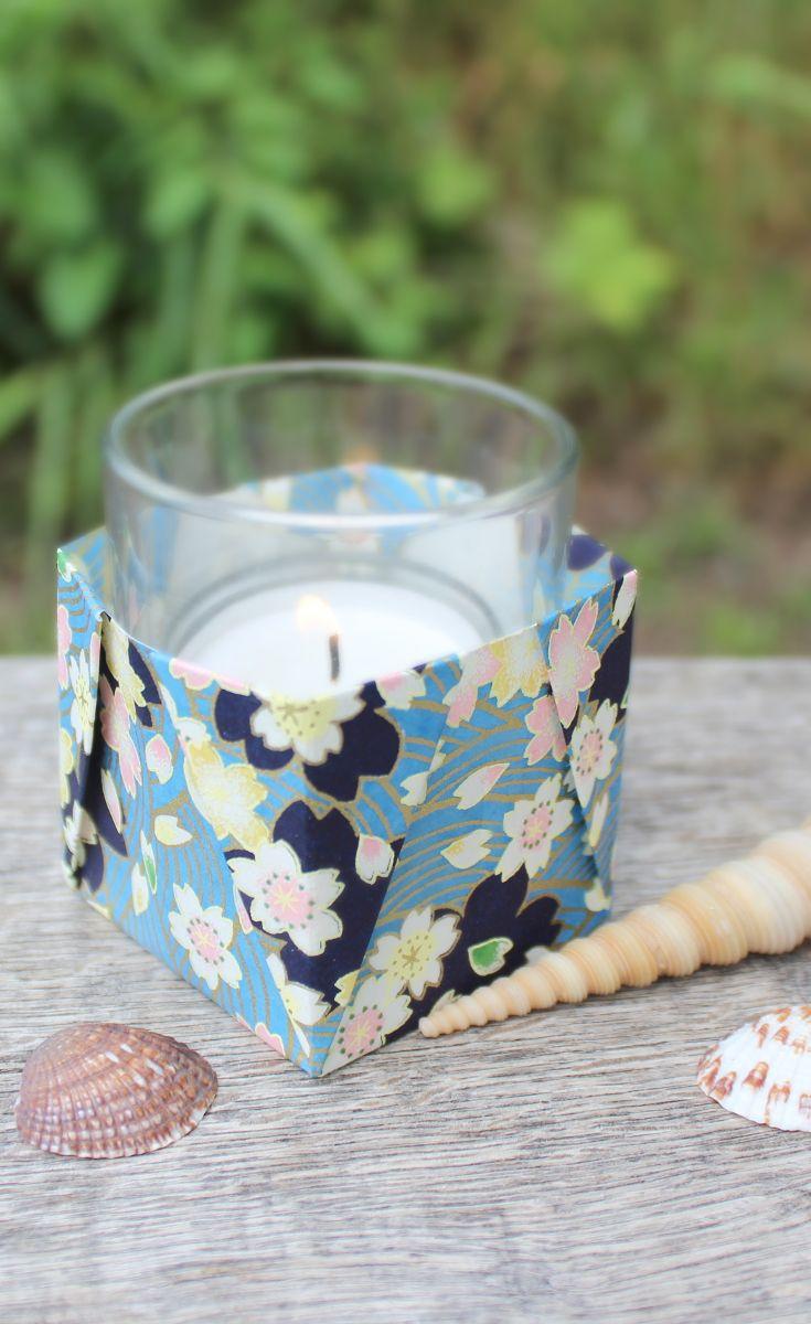 Origami Teelicht - Schachtel aus Washi #Origami | Deko Sommer ...