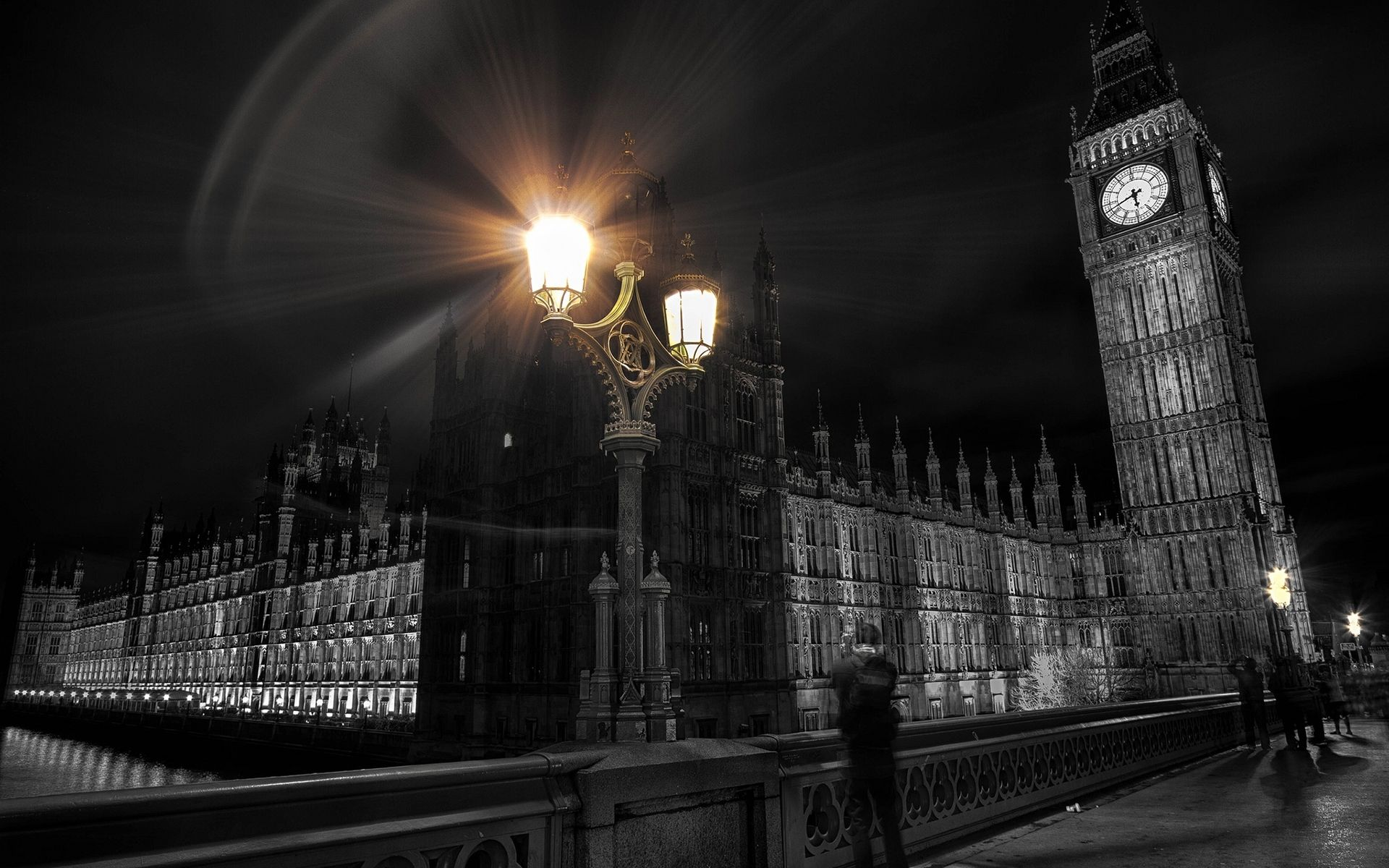 London Big Ben Clock Tower Colorsplash Lights Building HD