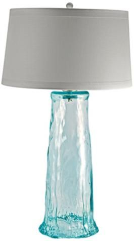 Everything Turquoise Clear Waterfall Recycled Glass Table Lamp Beach House Lamp Glass Waterfall Glass Table Lamp