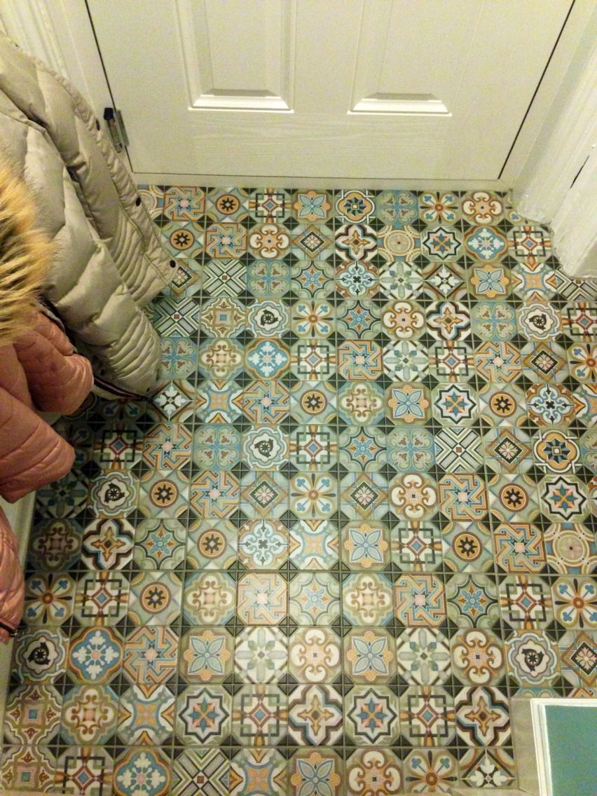 Something A Little Different Shabby Chic Hall Floor Tiles Hall Flooring Tile Floor Flooring