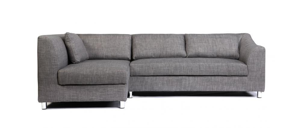 Canapé d\'angle convertible gris (angle gauche) MIAMI - Miliboo ...