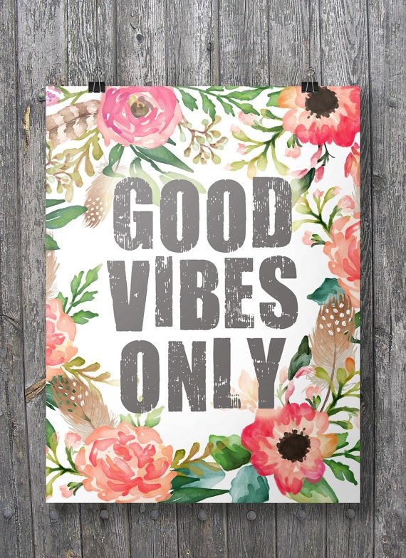 Good Vibes Only Watercolor Floral Printable Wall Art Instant Download Flower Canvas Wall Art Letter Wall Art Floral Printables