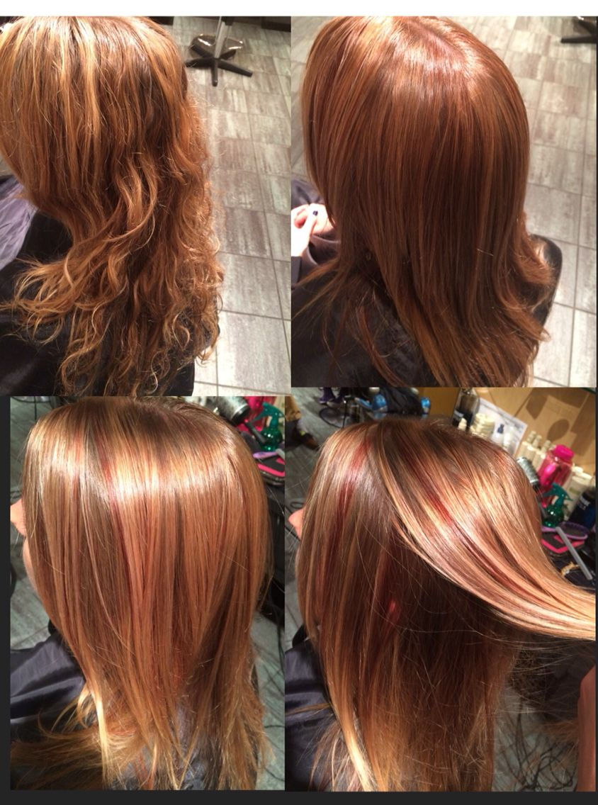 Red And Brown Ash Lowlights With Blonde Highlights To Create