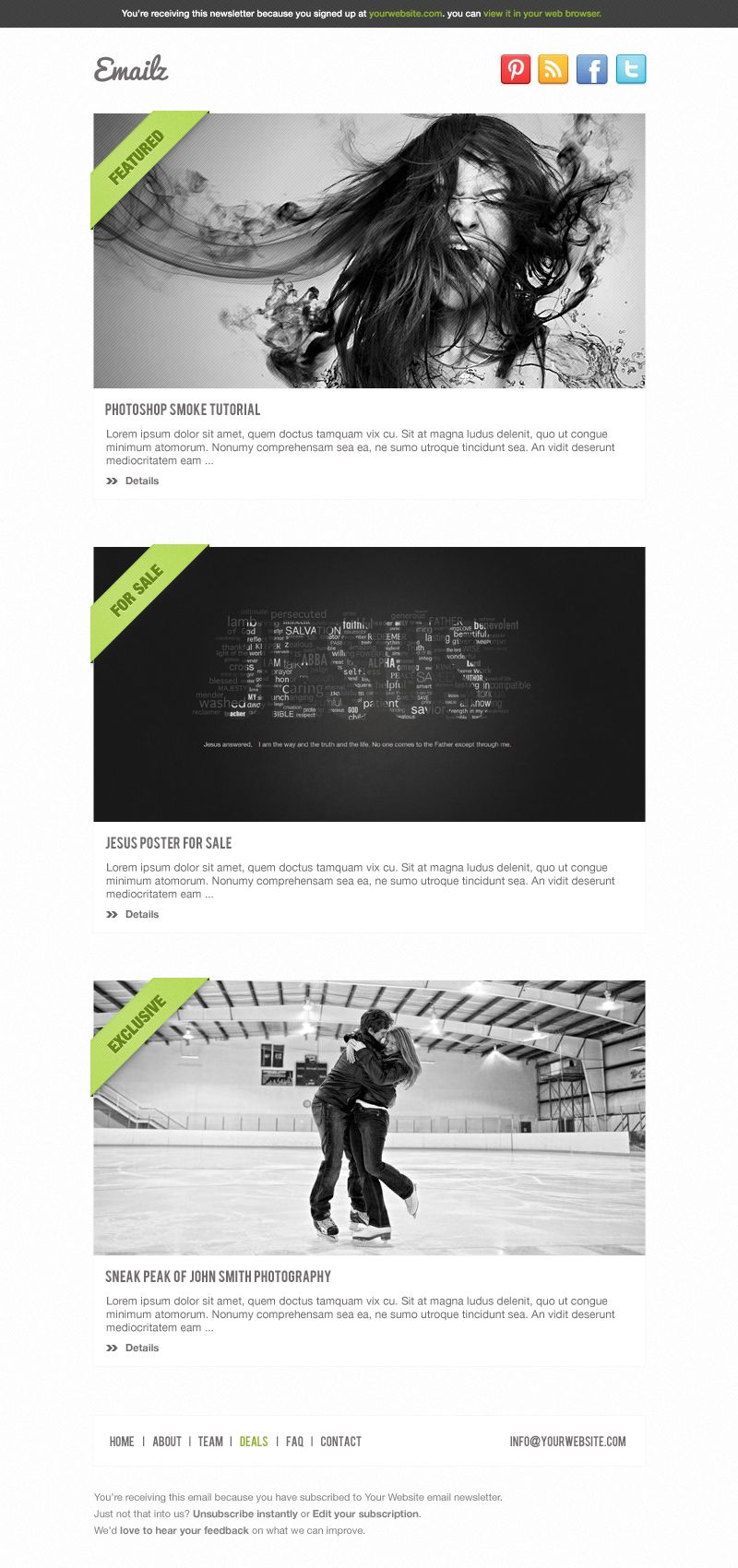 Email Template 5 | Best PSD Freebies    www.bestpsdfreebies.com/freebie/pay-with-a-tweet-friday-free-email-template-psd-with-5-variations/