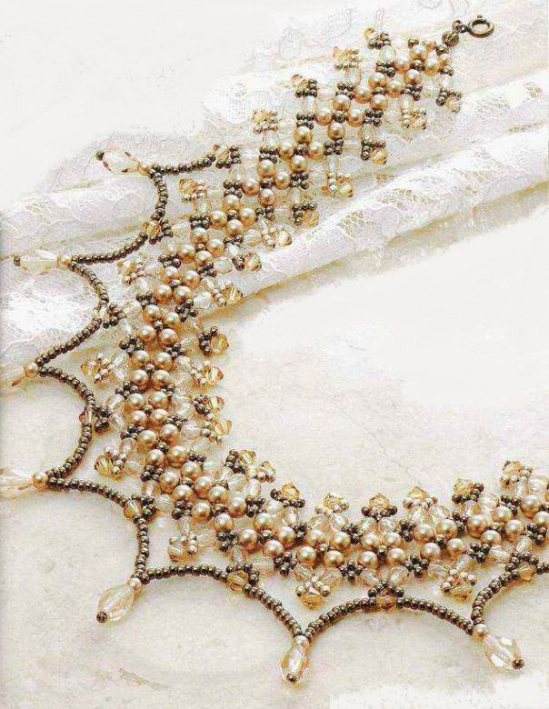 openwork collar necklace of beads and beads scheme
