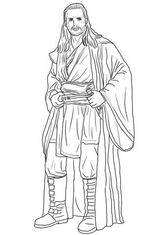 Qui Gon Jinn Coloring Page From The Phantom Menace Category Select