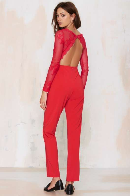 Lace Jumpsuit - Red Glamorous Cheap Best Store To Get Really Sale Extremely y9Y34NS9