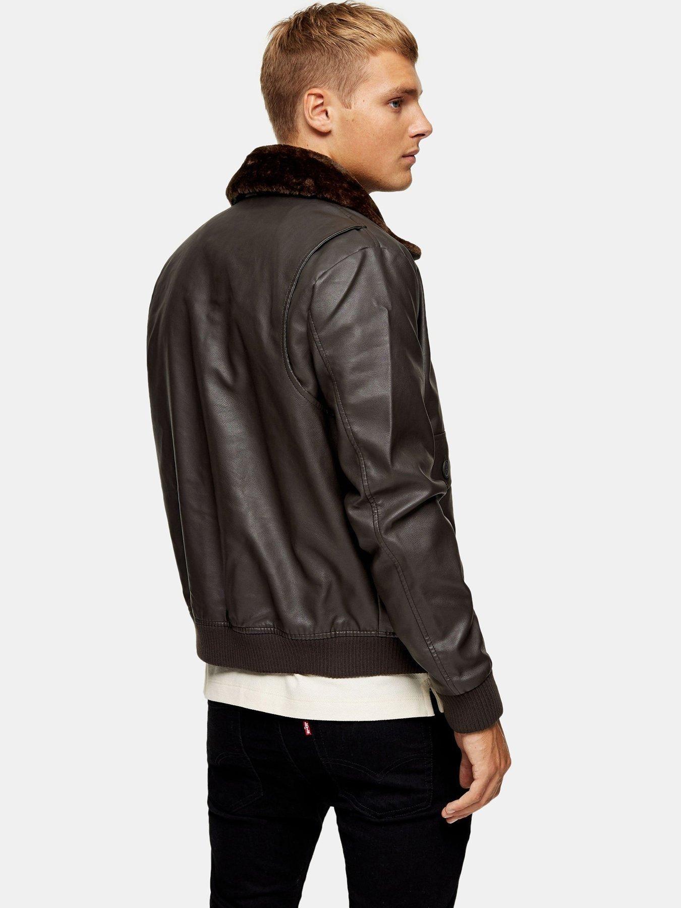 Topman Topman Faux Leather Fur Collar Flight Jacket, Brown