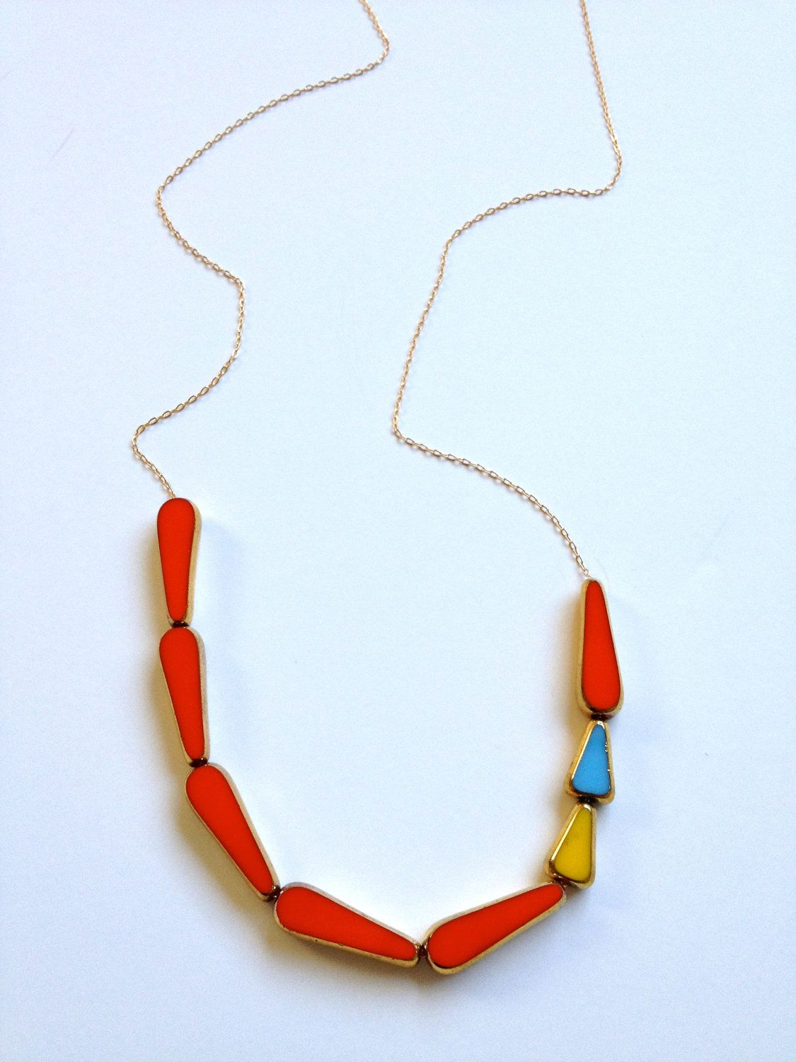 This Way to Color Necklace // 24k red, blue, yellow // mid century jewelry by LilahV. via Etsy.