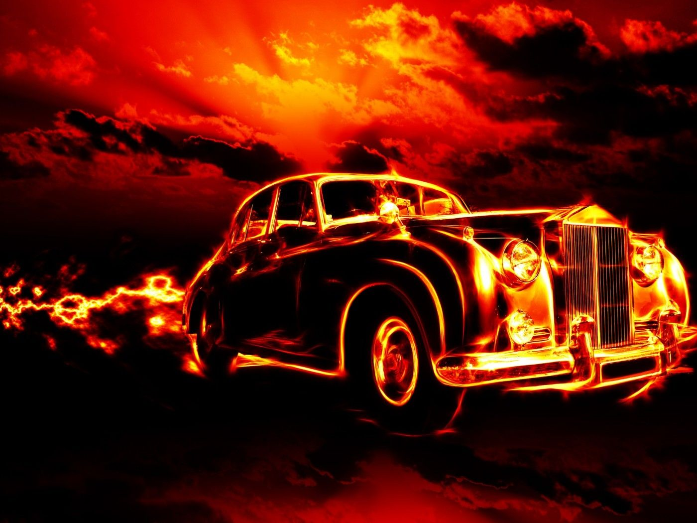 Vintage Car in Fire HD Wallpaper.Download High Definition ...