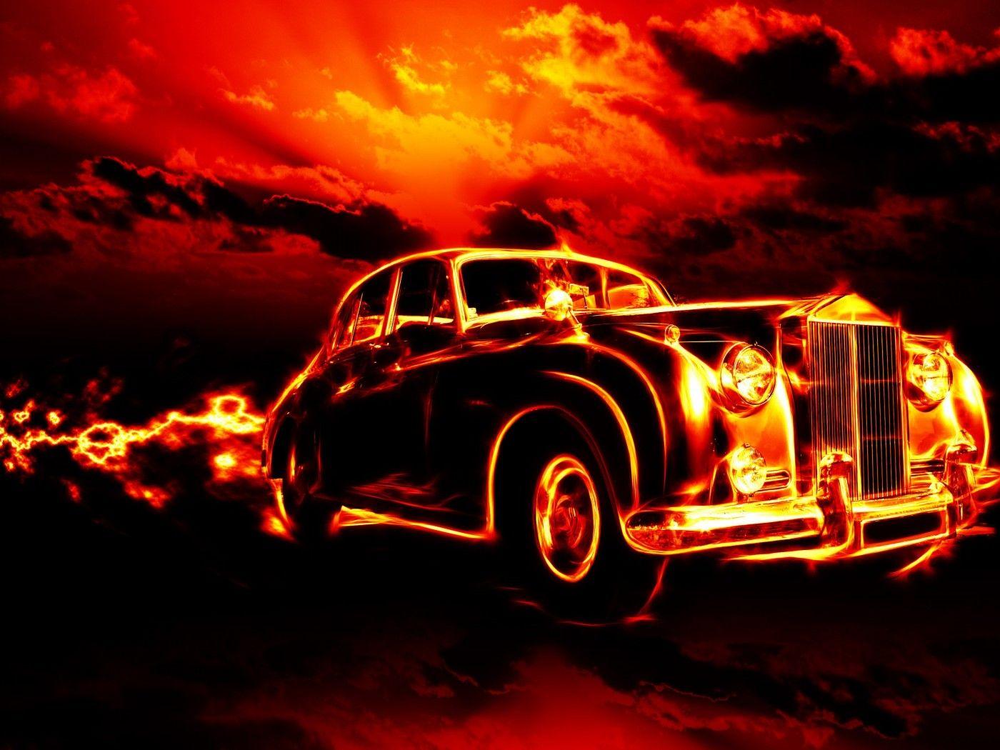 Vintage Car In Fire Hd Wallpaper Download High Definition Wallpaper Of Vintage Car Wallpapers Wallpaper Pictures Desktop Wallpaper