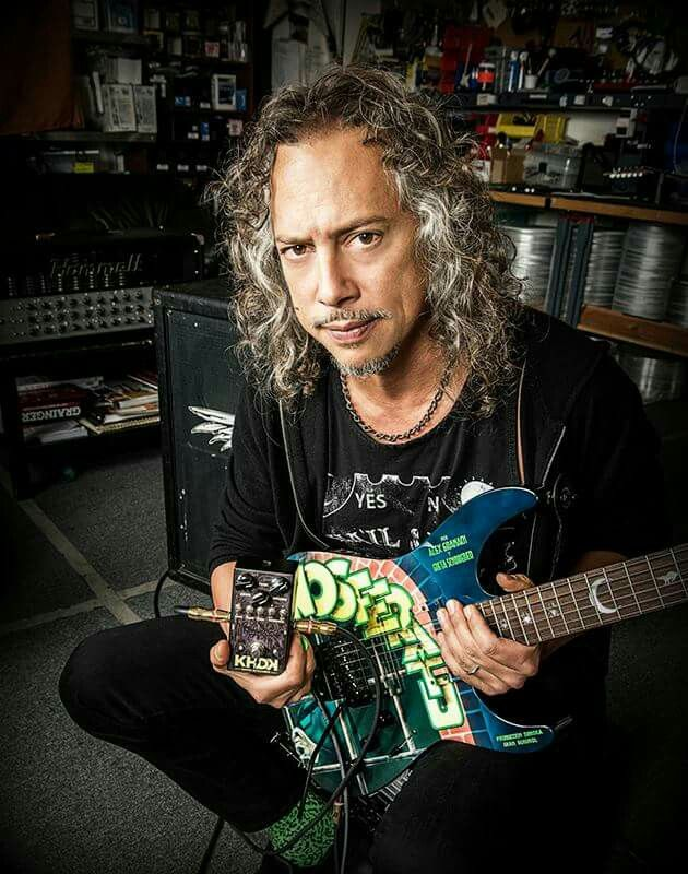 Kirk Hammett with his Ghoul Screamer and Nosferatu ESP guitar.