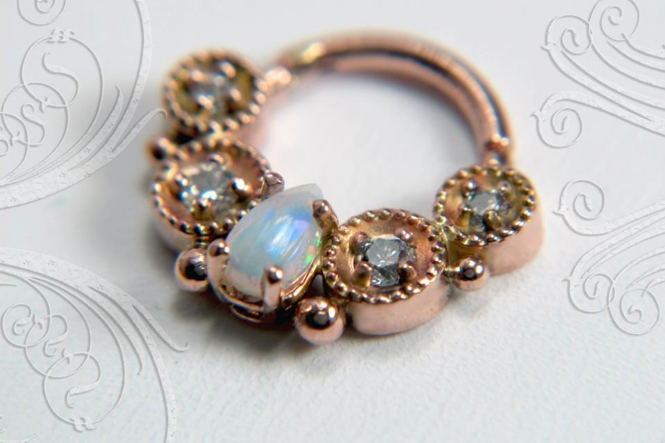 Swoon Rose Gold White Opal Diamond Septum Clicker jewelry