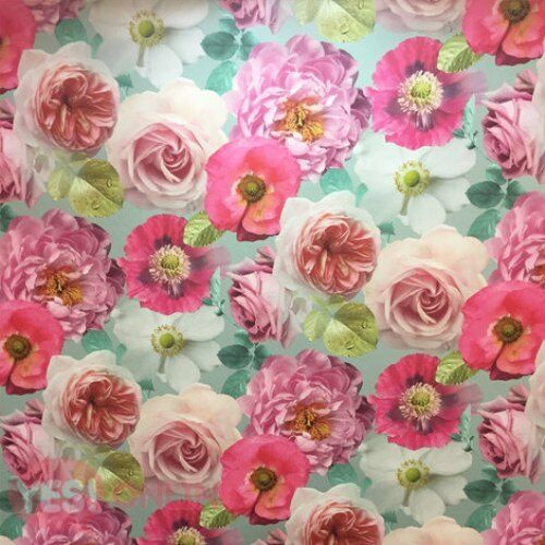 Arthouse Country Garden Rose Poppy Floral Wallpaper Teal