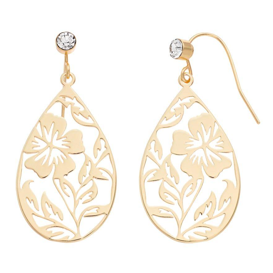 LC Lauren Conrad Flower Nickel Free Teardrop Earrings