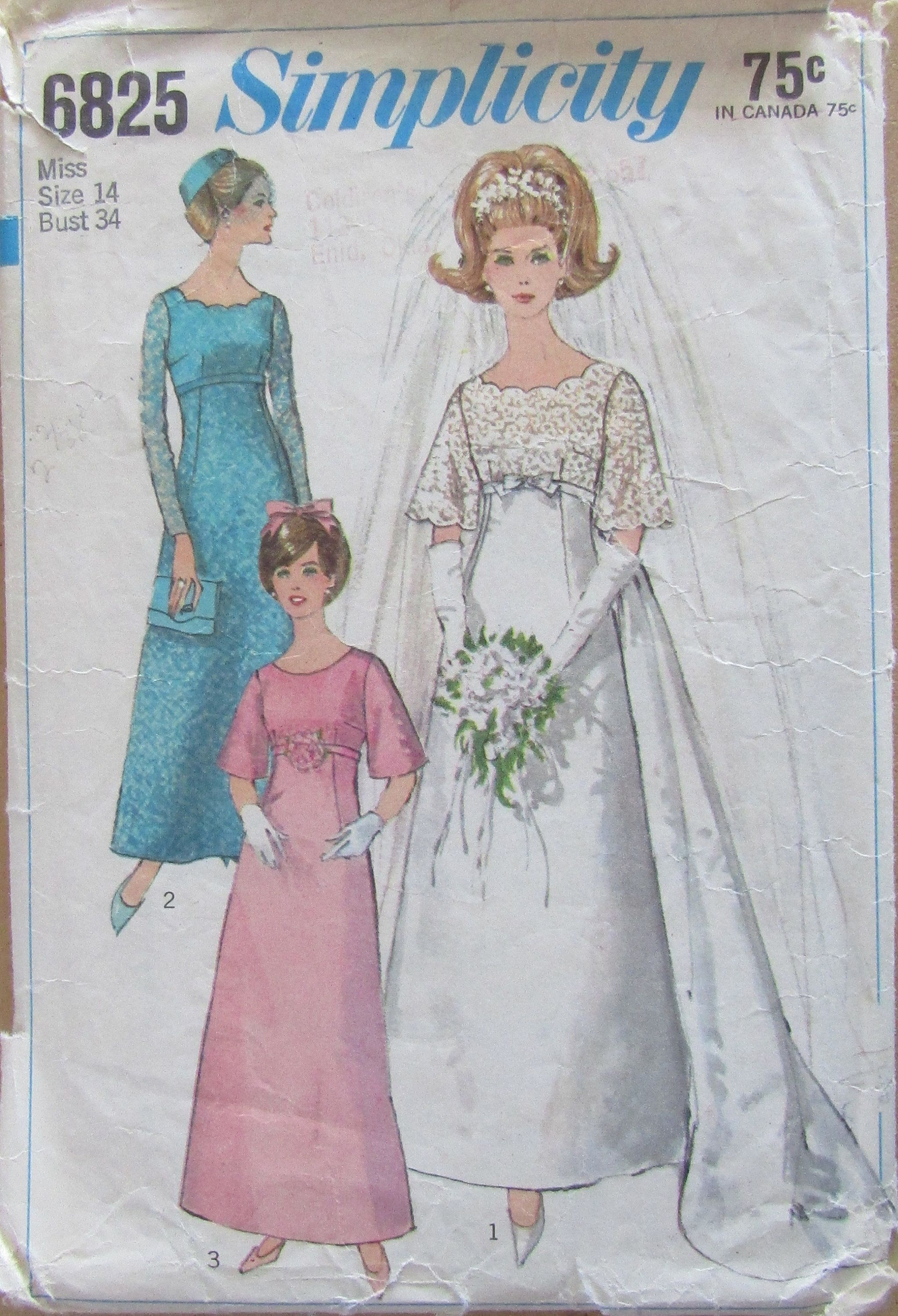 Simplicity 6825 Sewing Pattern Misses Wedding Dress Or Bridesmaids