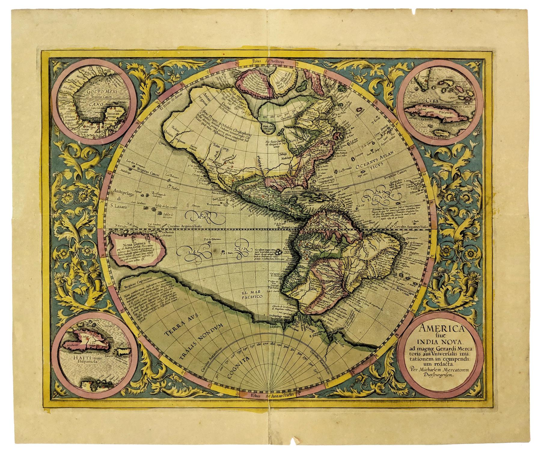 C 1615 New World Map After Mercator By Hondius America Fiue India Nova Ad Magnae Gerardi Merca New World Map Map Vintage World Maps