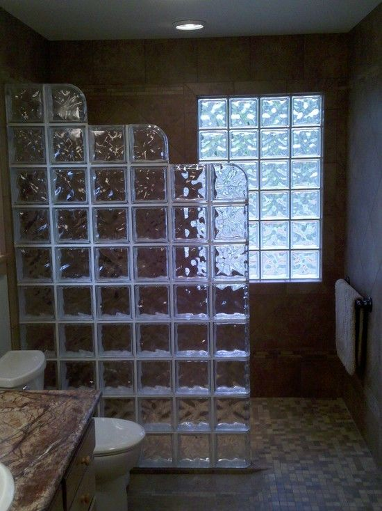 Glass block shower wall design pictures remodel decor - Glass bricks designs walls ...