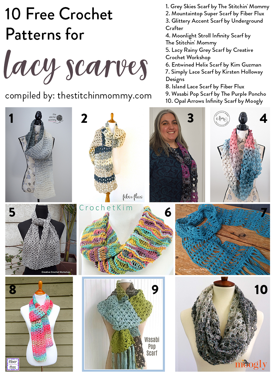 10 Free Crochet Patterns for Lacy Scarves | Chal y Tejido