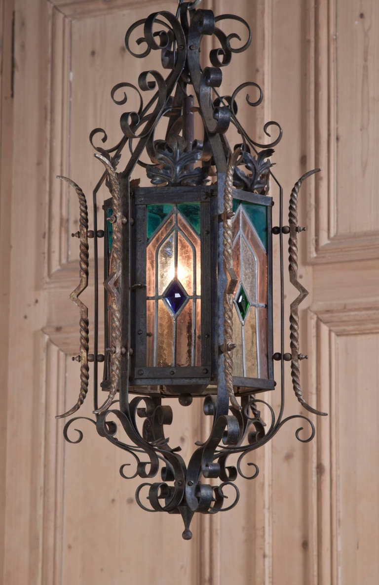 Antique Gothic Wrought Iron And Stained Glass Lantern