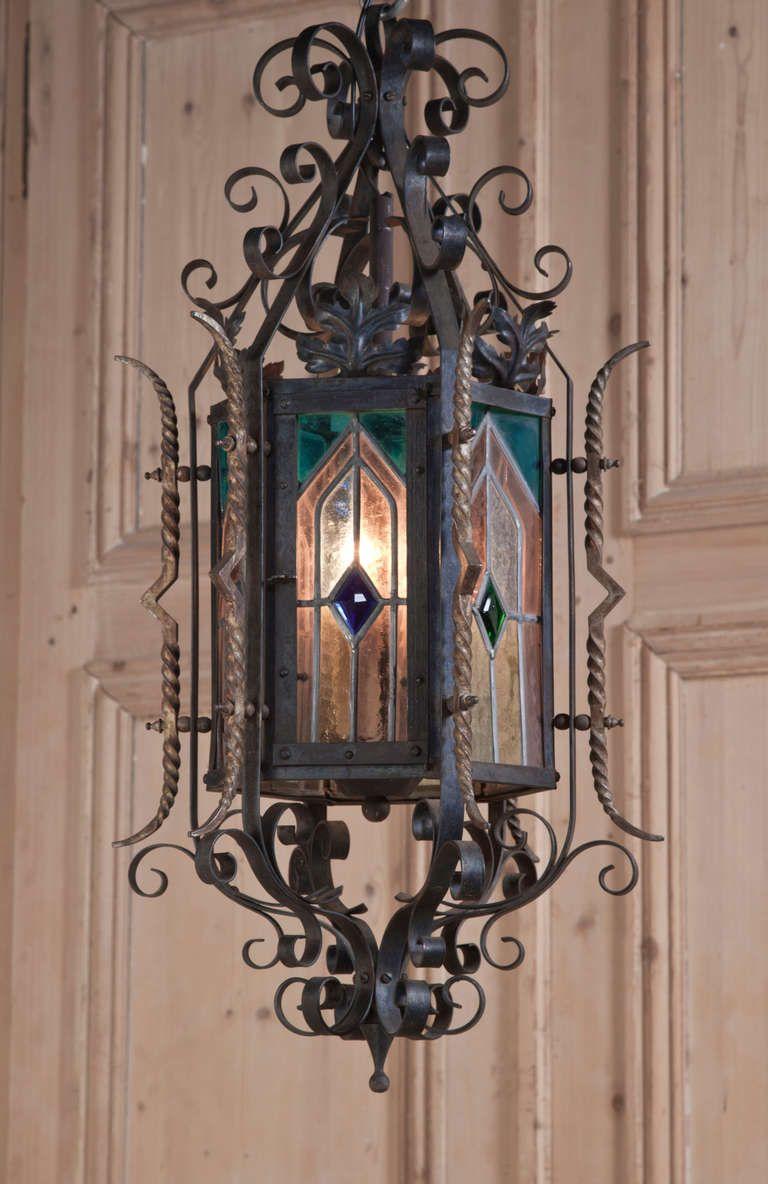 gothic lantern lighting. antique gothic wrought iron u0026 stained glass lantern lighting t