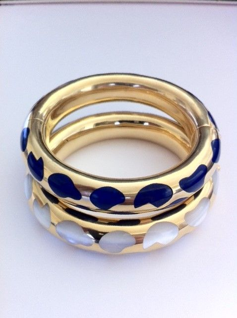 Tiffany gold lazuli and mother-of-pearl bangles