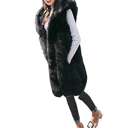 982cfeaeb9d7cc SOMESUN Femme Mode Faux Fur Manteaux sans Manche Hiver Chaud Confortable  Doux Couleur Unie À Capuchon