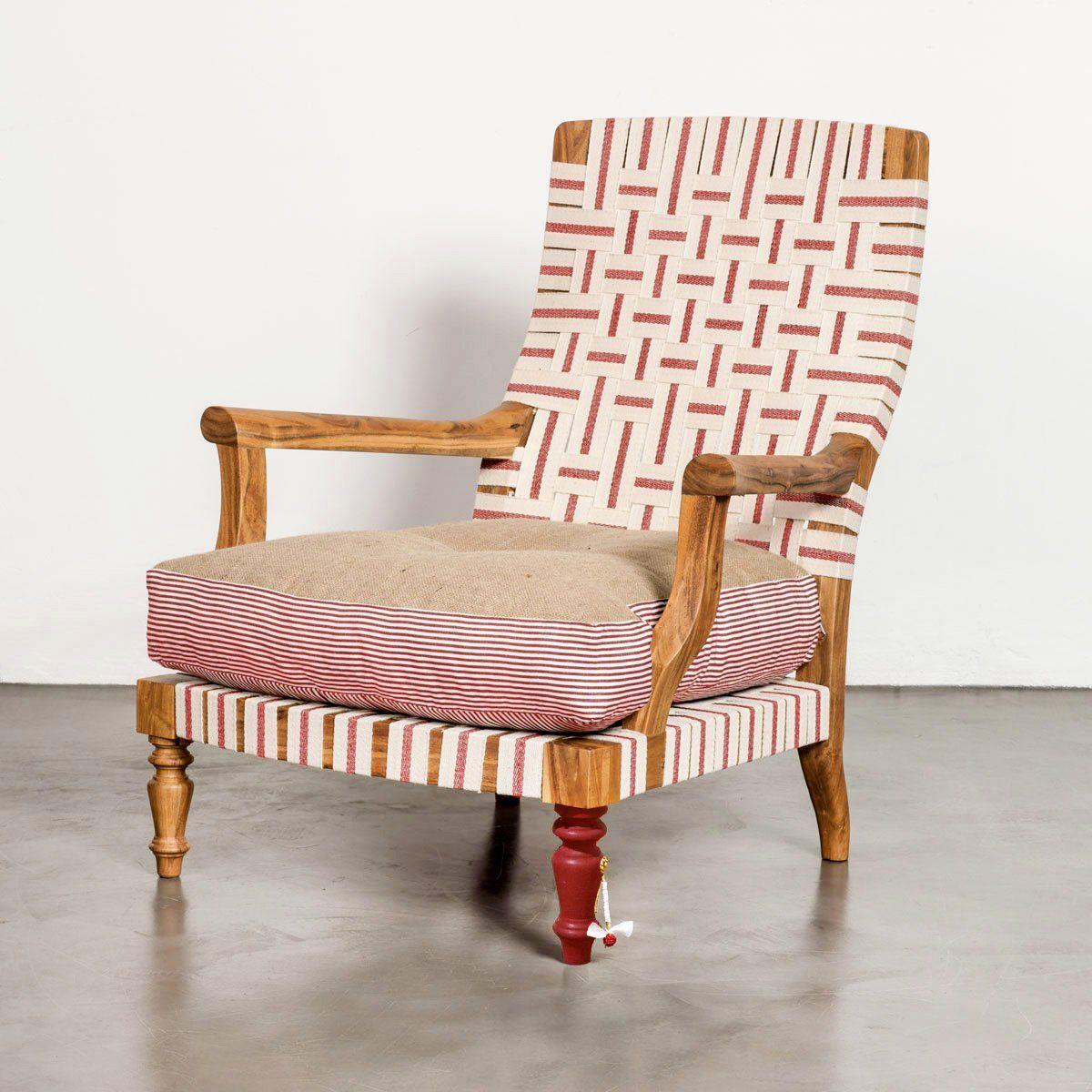 Bunakara fingerprint ribbon arm chair upholstered accent