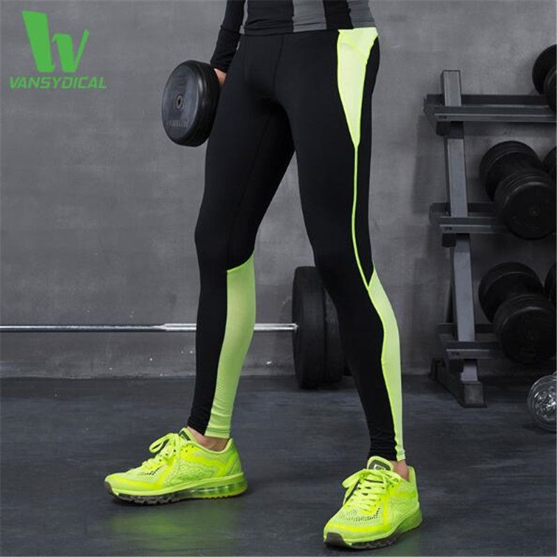 695768d6057a66 Vansydical Men's Reflective Compression Pants Fitness Cropped Trousers Quick  Dry Breathable Gym Leggings Men Running Tights
