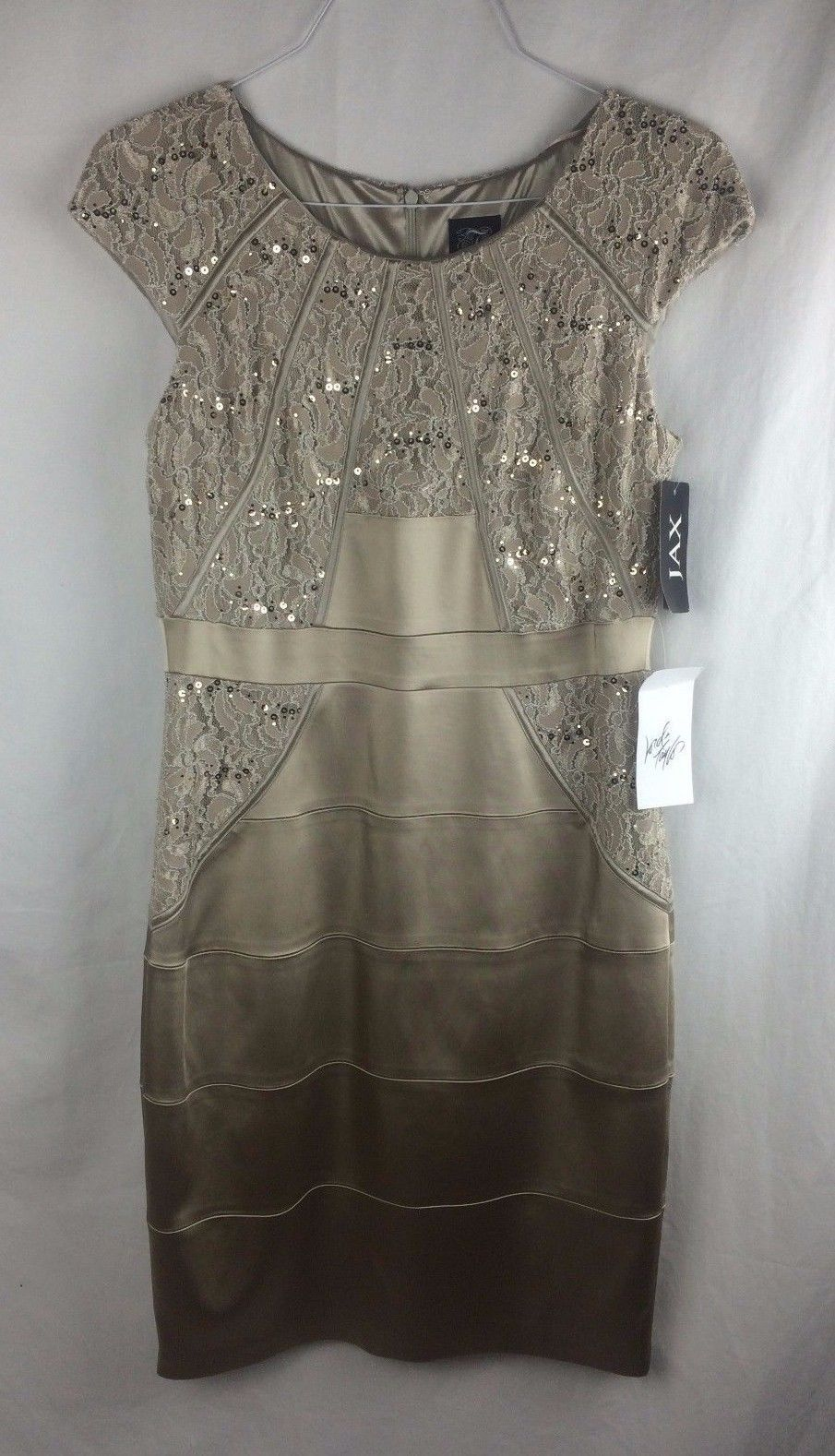 Nice awesome jax nwt taupe gold lace sparkle sequin dress