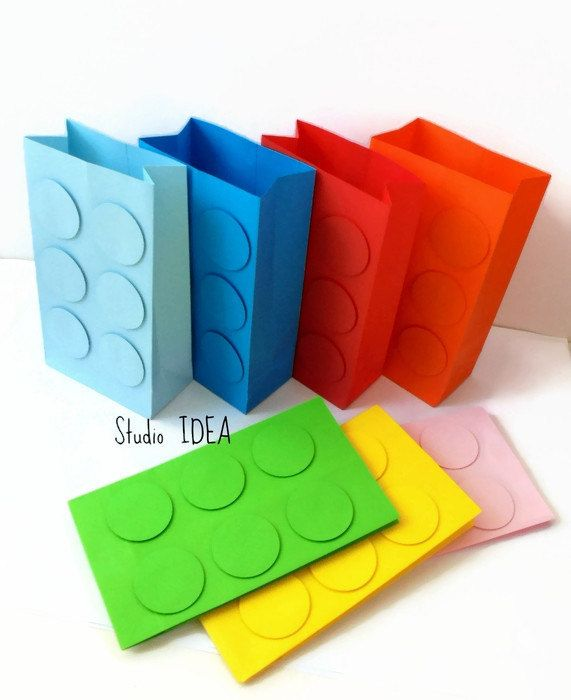 "Lego Inspired Paper Bag- 6.5"" tall Handmade Paper Lego Favor Bag ..."
