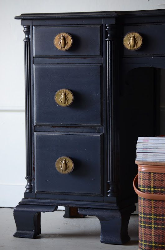 Anthropologie knobs navy blue paint colors pinterest for Navy blue painted furniture