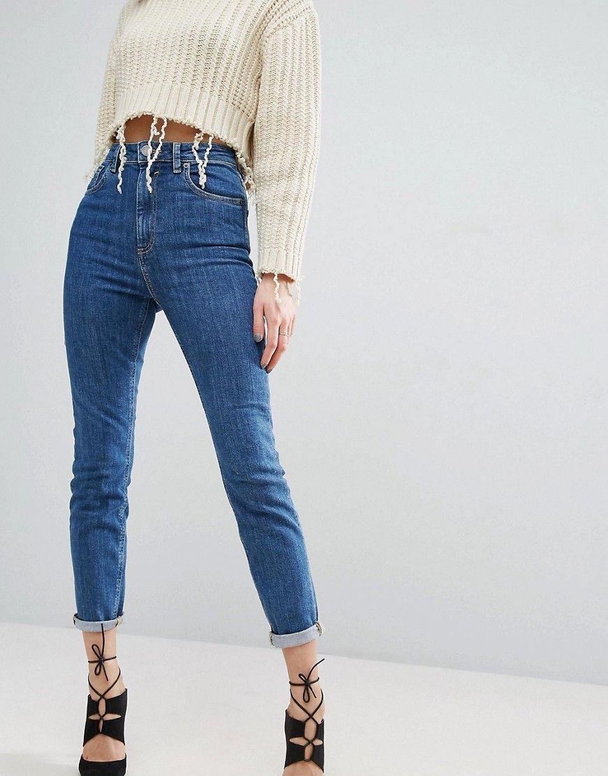 ASOS FARLEIGH High Waist Slim Mom Jeans In Harley Flat Blue