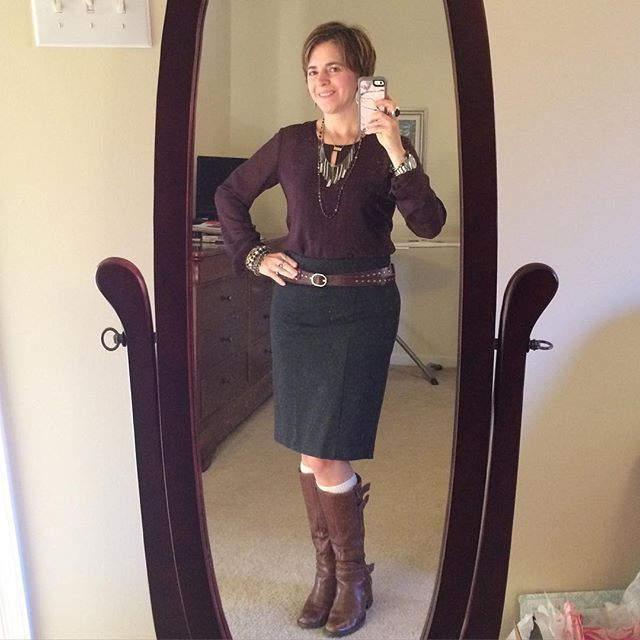 Love finding new combos for this #cabiclothing blouse! #ootd was the Entice blouse with a retired Cabi ponte skirt in charcoal. Wore Matisse boots and a #SilpadaStyle retired leather double wrap belt to match. #fringe necklace is also  Silpada. #whatiwore #boots #fashion #fashionover40 #fallfashion #belt #officechic #stylespotters
