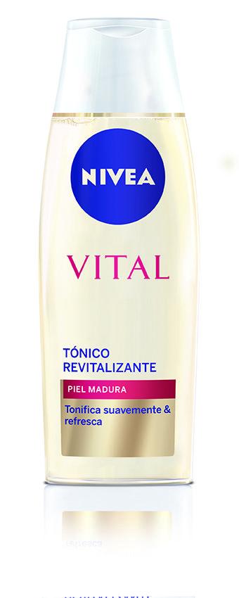 Tónico Revitalizante de NIVEA VITAL. Desarrollado para proporcionar a la piel madura, un baño de frescor e hidratación durante la limpieza diaria.