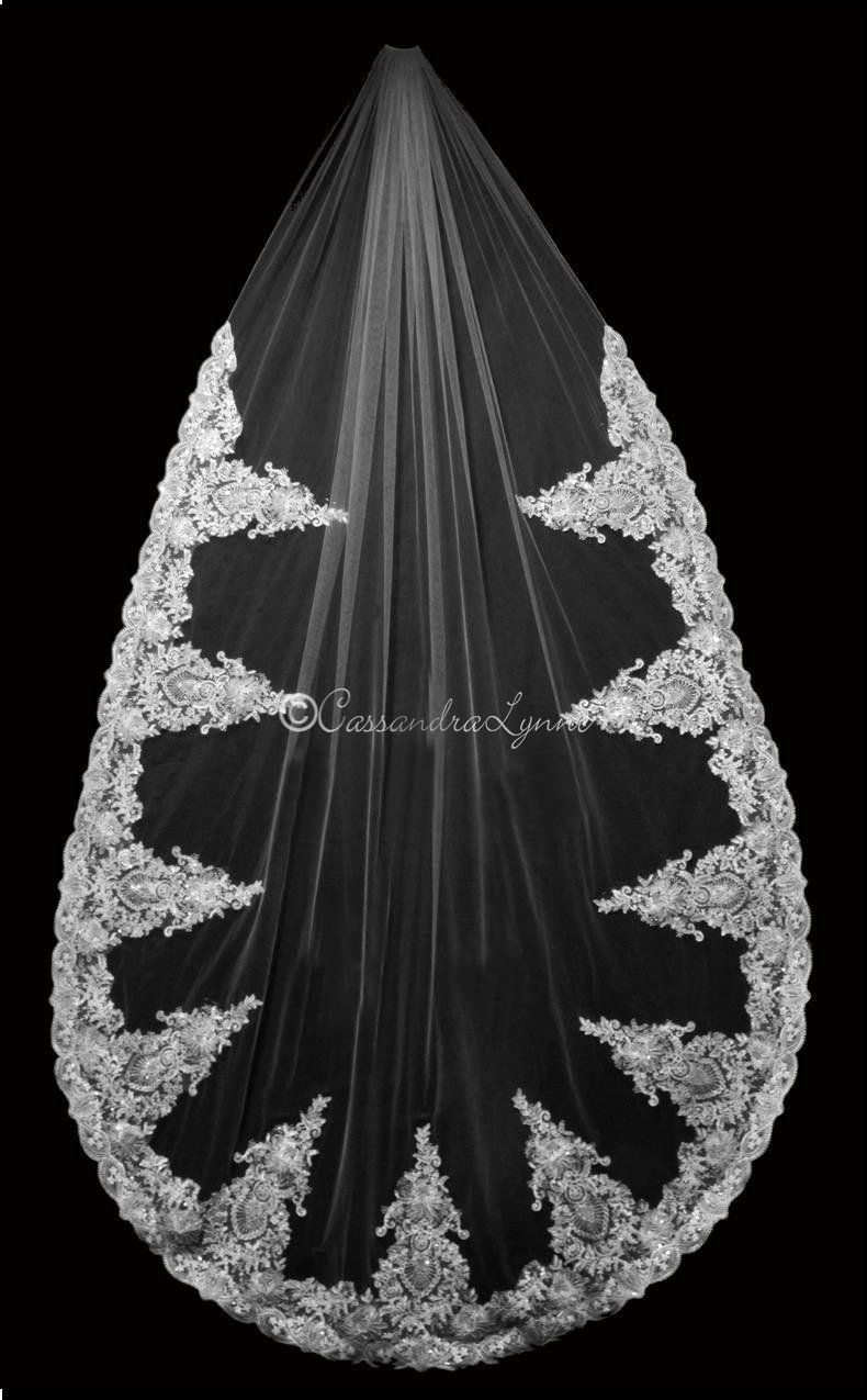 Dramatic Lace Cathedral Bridal Veil in 2019 Cathedral