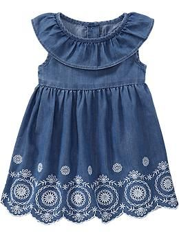 Ruffled Embroidered-Hem Dresses for Baby | Old Navy