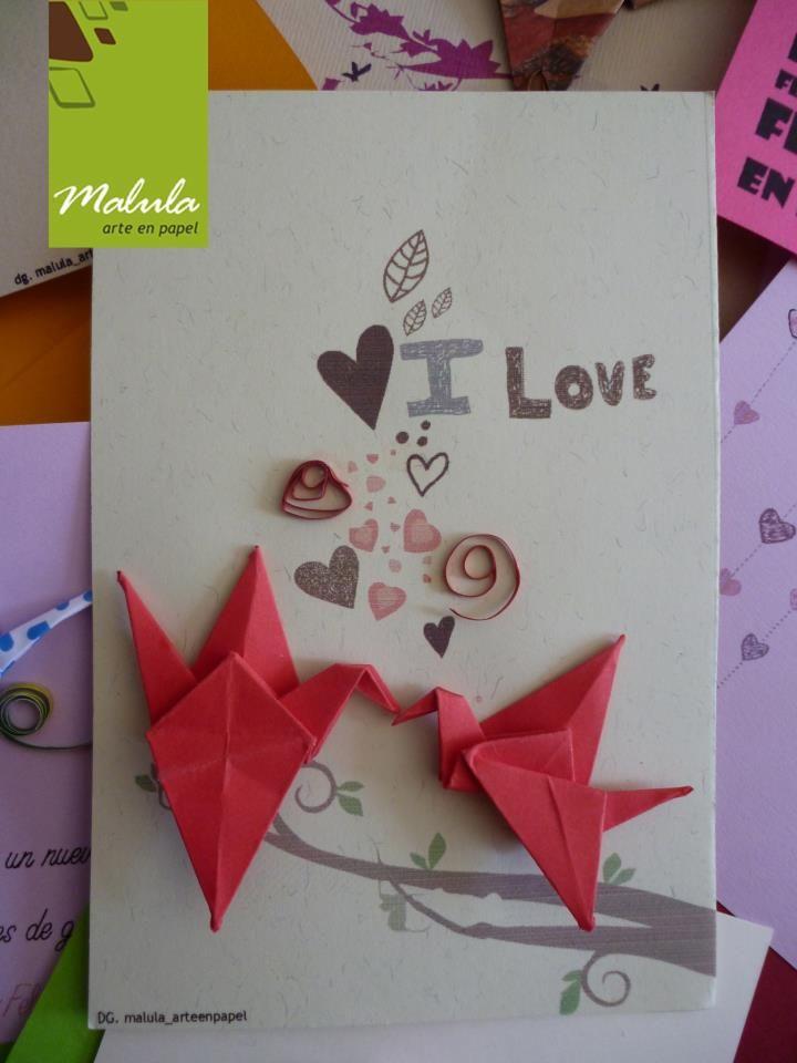 Tarjetas de felicitaciones, con apliques en origami, diseño origanales y alegres de malula _ arte en papel