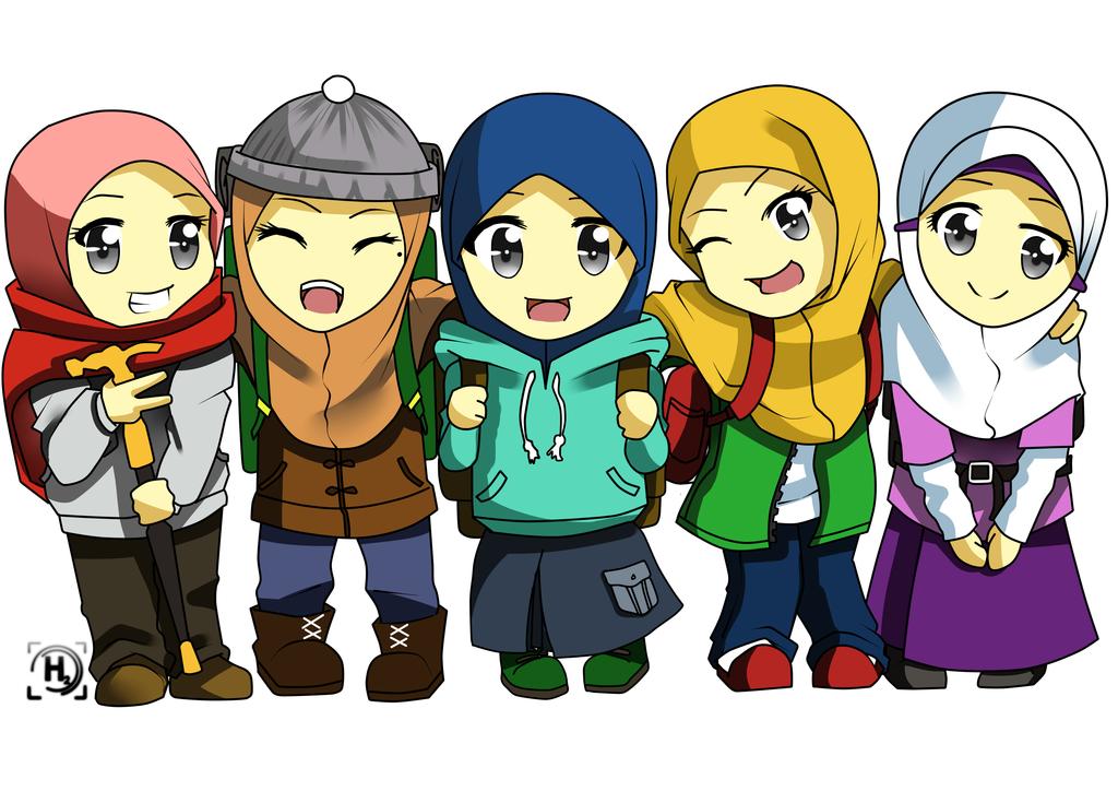 Girl Traveller Best Friends Cartoon Islamic Cartoon Friend Cartoon