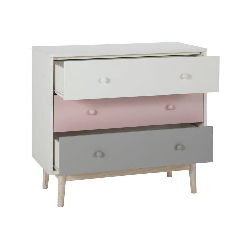 Vintage Kommode 3 Schubladen, weiß/rosa/grau in 2020