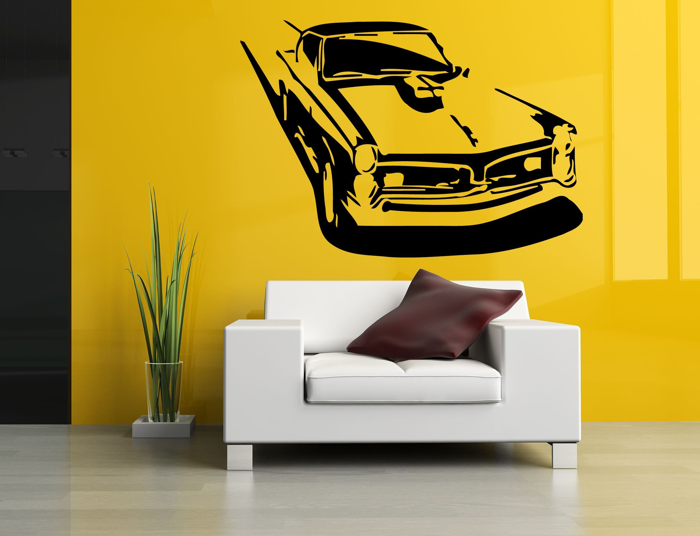 Wall Room Decor Art Vinyl Sticker Mural Decal Antique Car Muscle Big ...