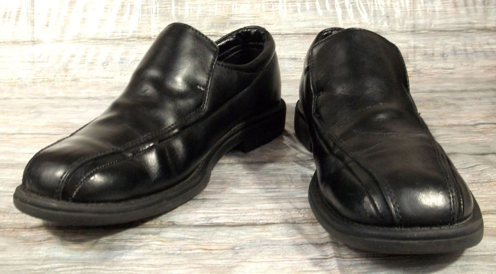 Skechers Dress Loafers Mens Size 10 M Solid Black Leather Shoes #SKECHERS #LoafersSlipOns