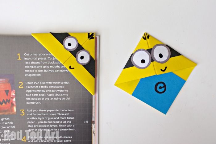 Easy and fun to make Minion Bookmarks - use basic origami skills - basic p&l template