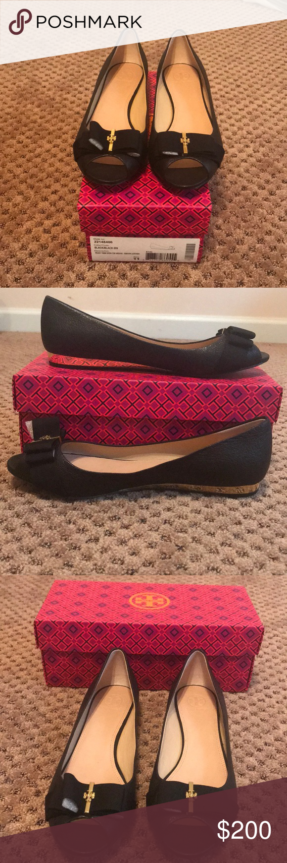 a11f9cf7ca36 Never-worn Trudy 15MM Open Toe Wedge Tory Burch Black Bow 15MM wedge Gold  heel Size 11 Tory Burch Shoes Wedges