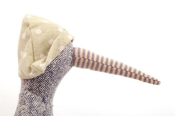 knitted silk duck bird doll  modern stuffed toy by TIMOHANDMADE