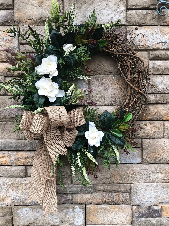 Photo of Large Magnolia Farmhouse Wreath-Large Year Round Wreath-Farmhouse Wreath-Faux Magnolia Greenery Wreath-Magnolia Decor-Large Farmhouse Wreath